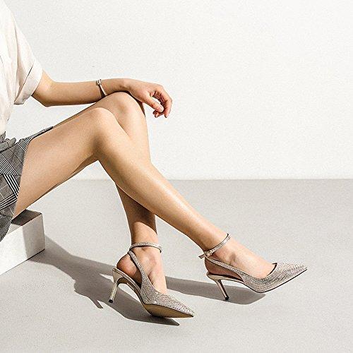 NAN Femmes Chaussures D'été Diamant Cheville Boucle Talons hauts Sexy Et Confortable Talon Mince Pointu Hauts Talons Travail De Fête De Mariage Noir Et Or Fête des Mères Cadeau ( Couleur : Or , taille Or