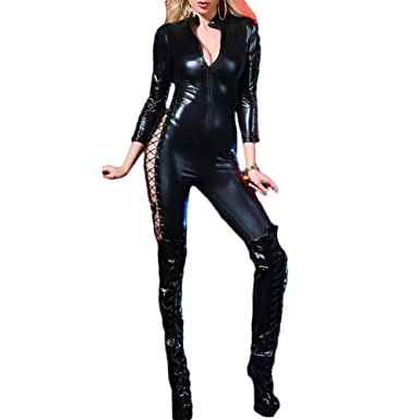 342219f10b4 Women Ladies Lingerie Plus Size Bodysuit Hollow-Out Long Sleeve Faux  Leather Catsuit Crotchless Zipper