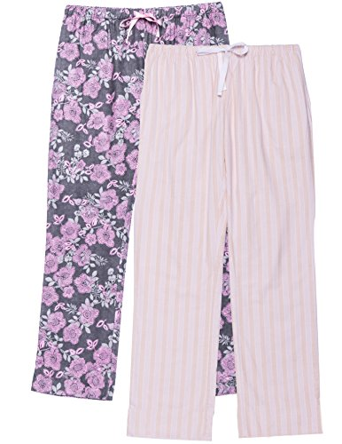 Noble Mount Women's Cotton Flannel Lounge Pants 2-Pack - Stripes/Floral Pink - Small