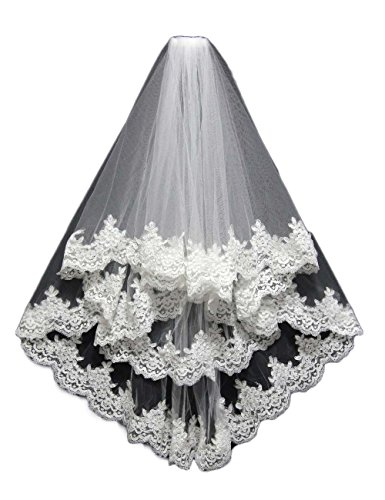 OYISHA Women's 2 Tiers Lace Edge Short Wedding Bridal Veils with Comb V08 White