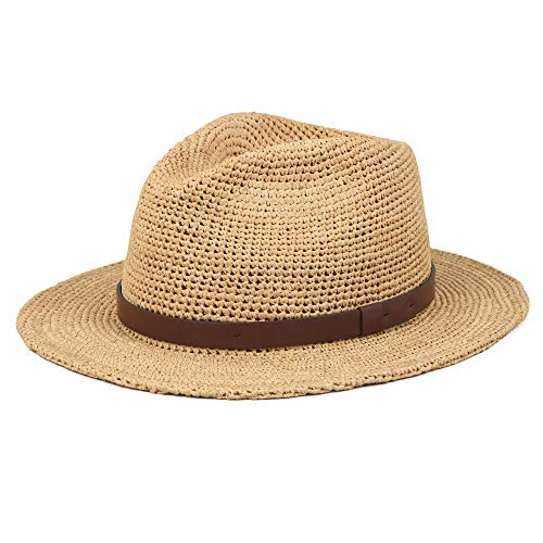(Unisex Sun Raffia Straw Panama Handmade Hats Summer Wide Brim Beach Casual Adjustable Trilby Jazz Fedora Hat With UV Protection For Women Men Mix Brown M/L)