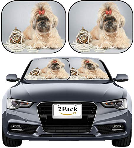 MSD Car Sun Shade Windshield Sunshade Universal Fit 2 Pack, Block Sun Glare, UV and Heat, Protect Car Interior, Image ID: 23839410 Shih tzu Dog with red Bow on Grey Background ()