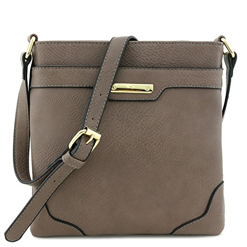Women's Medium Size Solid Modern Classic Crossbody Bag with Gold Plate (Stone)