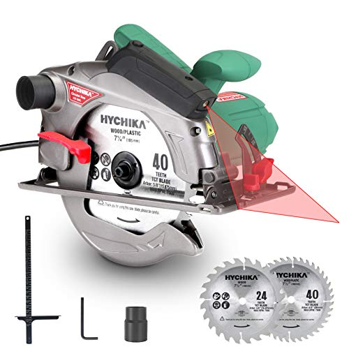 Circular Saw, HYCHIKA 12.5A Electric Saw with Fixed Speed 4700RPM, 2Pcs Blades(24T+ 40T): 7-1/2″, Max Cutting Depth 2-1/2″(90°), 1-4/5″(45°), Laser Guide, Pure Copper Wire Motor, 10Ft Power Cord