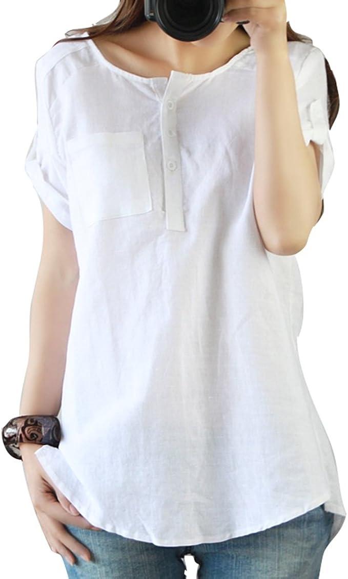 Juleya Mujer Cuello Redondo Camisetas - Verano Manga Corta ...