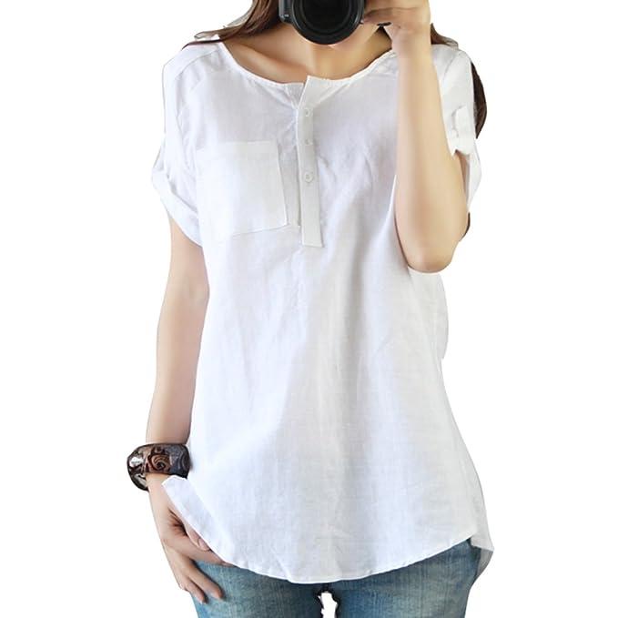 Juleya Mujer Cuello Redondo Camisetas - Verano Manga Corta Camiseta Oversize Boho Suelto Casual Llanura Jersey Pullover Blusas Tops M - 3XL: Amazon.es: Ropa ...