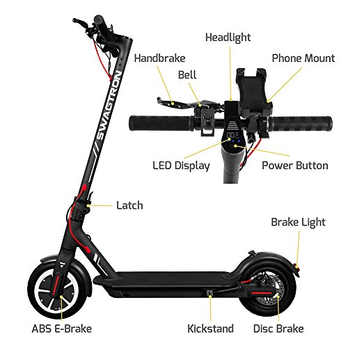 "Swagtron High Speed Electric Scooter with 8.5"" Cushioned Tires, Cruise Control and 1-Step Portable Folding – Swagger 5 by Swagtron (Image #5)"
