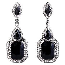 Crystal Emerald Cut Infinity Chandelier Earrings