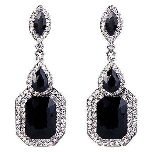 - BriLove Wedding Bridal Dangle Earrings for Women Emerald Cut Crystal Infinity Figure 8 Chandelier Earrings Black/Clear Black-Silver-Tone
