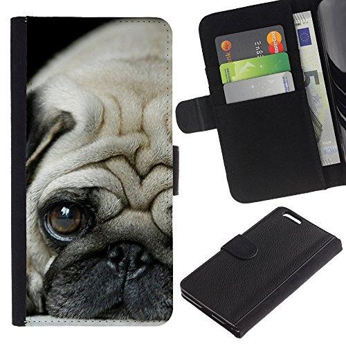 Be Good Phone Accessory // Caso del tirón Billetera de Cuero Titular de la tarjeta Carcasa Funda de Protección para Apple Iphone 6 PLUS 5.5 // Pug Puppie Sad Tiny Dog Breed Canine