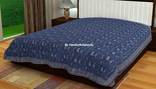 Handicraftofpinkcity indigo blue kantha quilt. bed cover bed sheet,Hand Block Print Indian Cotton Kantha Quilt,Handmade Kantha Stitched Bed Cover/Blanket