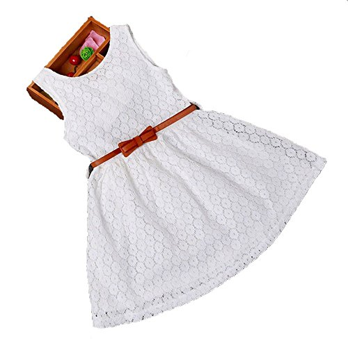 [Usstore 1PC Girls Kids Lace Vest Girl Dress Princess Dress( Belt is not included) (120-5-6 Year, White)] (Month Belt Buckle)