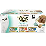 Purina Fancy Feast Seafood Classic Pate Wet Cat Food Variety Pack, 3 oz. Cans (2 Packs of 12)