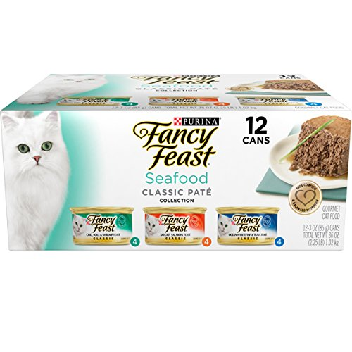 Purina Fancy Feast Seafood Pate Wet Cat Food Variety Pack 24 cans