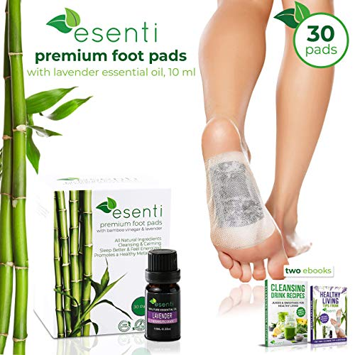 Foot Pads & Lavender Essential Oil | 100% All Natural Self Adhesive Cleansing Foot Pads | Relieve Stress & Improve Sleep | for Pain Relief & Foot Odor | 30 Pads | FDA Certified | Full Body Cleanse ()