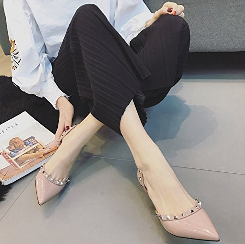 Spring Rivets MDRW Work Lady Hollow Heel Women'S Shoes High Fine Shallow Shoes 7 35 Single Head Mouth Color Elegant Leisure Bare Shoes Heel Sharp 5Cm qIzfIw