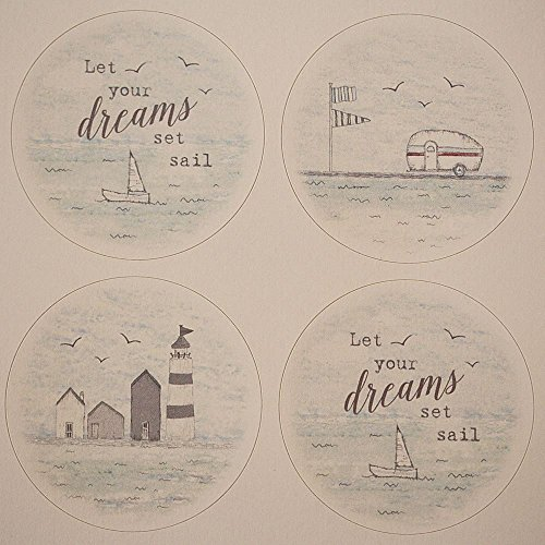East Of India Beside The Seaside Circular Sticker Single Sheet of 24 stickers - India Hut
