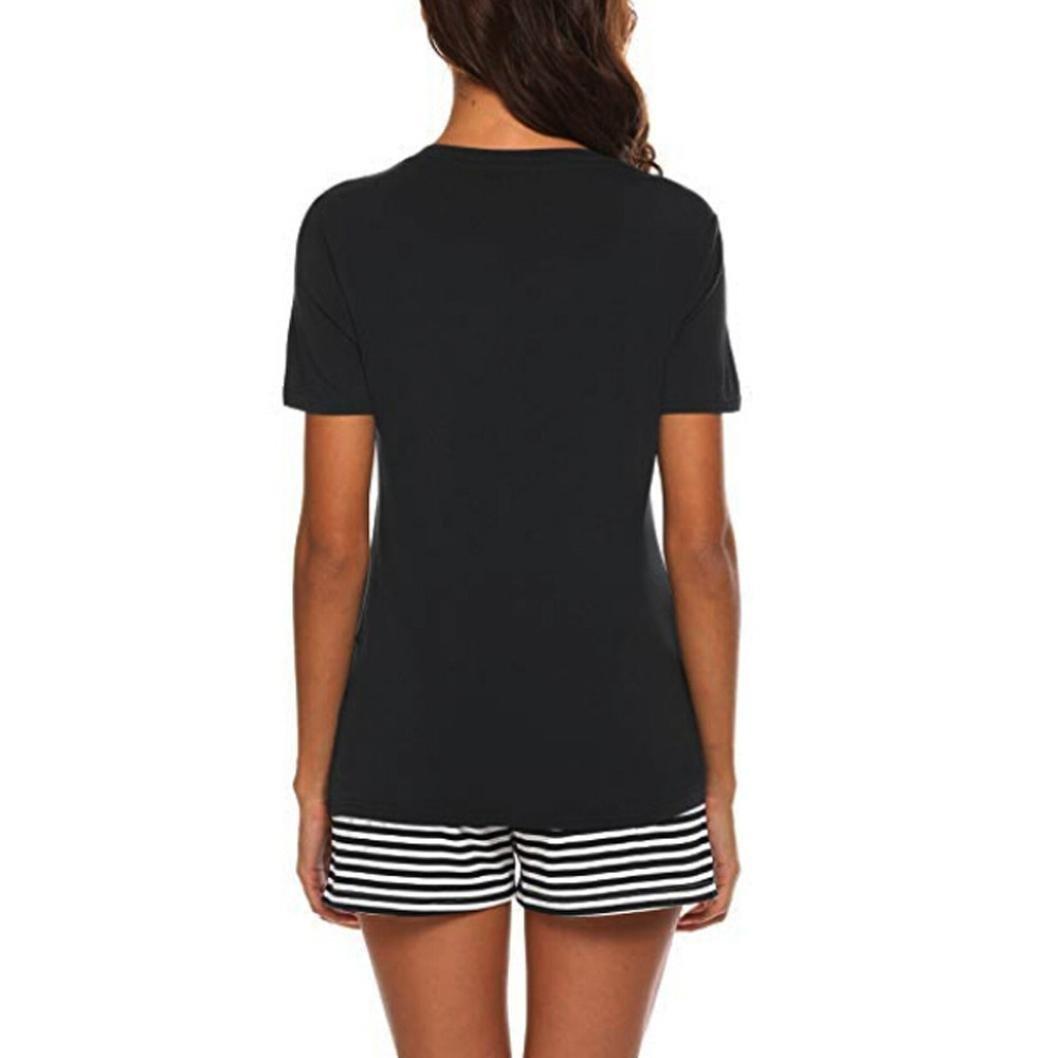 QinMM Pijama de Rayas para Mujer 2 Piezas, Ropa de Dormir Camiseta + Shorts: Amazon.es: Ropa y accesorios