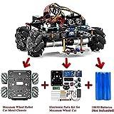 OSOYOO Omni-directinal Mecanum Wheels Robot Car Kit for Arduino Mega2560 Metal Chassis DC Speed Encoder Motor Robotic DIY STEM Remote Controlled Educational   Mechanical DIY Coding for Kids Teens Adul