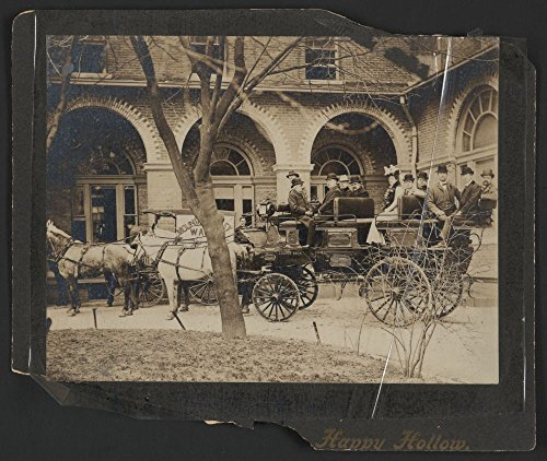 Hot Springs Arkansas Hotels (1900 Photo Hot Springs stage, Arlington Hotel, Hot Springs, Ark. a group of men and one woman sitting in a large, open carriage, or stage. Location: Arkansas, Hot Springs)