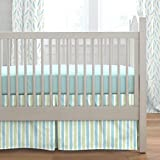 Carousel Designs Seafoam Aqua and Pastel Green Weathered Stripe Crib Skirt Box Pleat 20-Inch Length