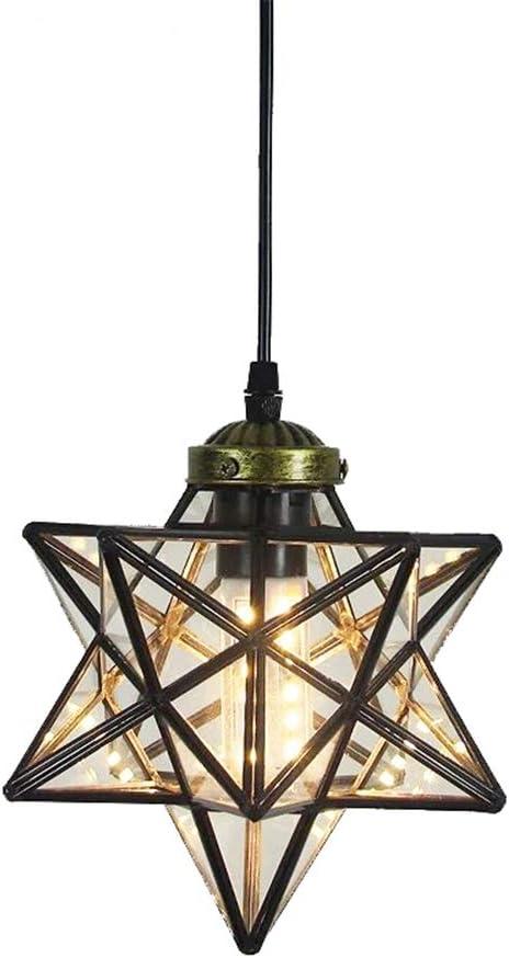 Clear Glass Star Pendant Light Retro Style Lamp Shade 8 Chandelier Ceiling Hanging Droplight For Cafe Loft Bar Living Study Room Corridor Aisle 20cm Amazon Com