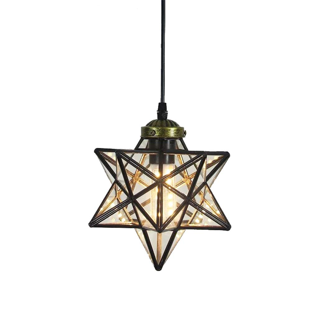 Clear Glass Star Pendant Light Retro Style Lamp Shade 8'' Chandelier Ceiling Hanging Droplight for Cafe Loft Bar Living Study Room Corridor Aisle (20cm)