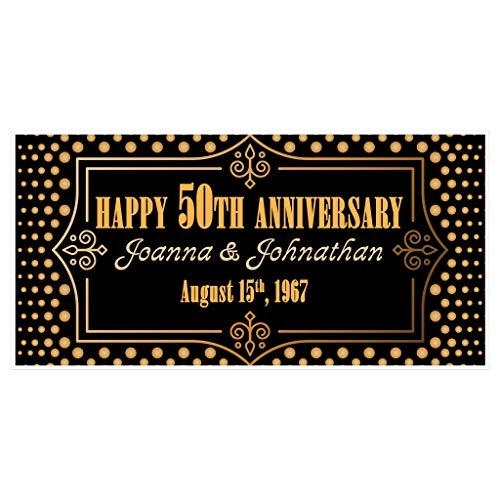 (50th Wedding Anniversary Banner Gold and Black Personalized Party Decoration)