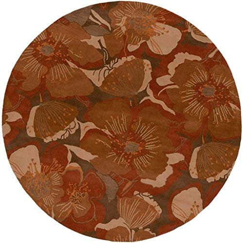 Amazon Com Wisner Floral Transitional 8 Round Round Transitional 100 Wool Rust Dark Brown Tan Burnt Orange Area Rug Kitchen Dining