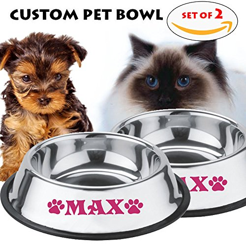 (Jeyfel Decals: Personalized Stainless Steel Pet Bowl Set. for Small Pets; Dog, Cat. 8 OZ. (1 Cup) (Pink))