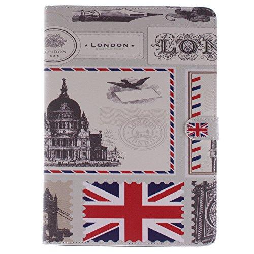 Funda para iPad Mini, Flip funda de cuero PU para iPad Mini 1 / 2 / 3, iPad Mini Leather Wallet Case Cover Skin Shell Carcasa Funda, Ukayfe Cubierta de la caja Funda protectora de cuero caso del sopor sellos de la bandera