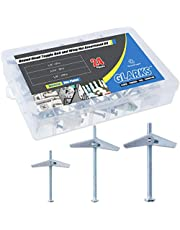 Glarks 24Pcs 1/8'', 3/16'', 1/4'' inch Zinc Plated Steel Round Head Toggle Bolt and Wing Nut Assortment Kit
