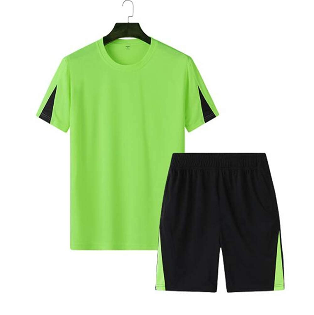 Double luck Mens Short Sleeve Shirt and Shorts Casual Shirt Sport Suit