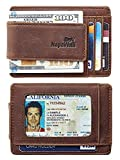 Toughergun Genuine Leather Magnetic Front Pocket Money Clip Wallet RFID Blocking