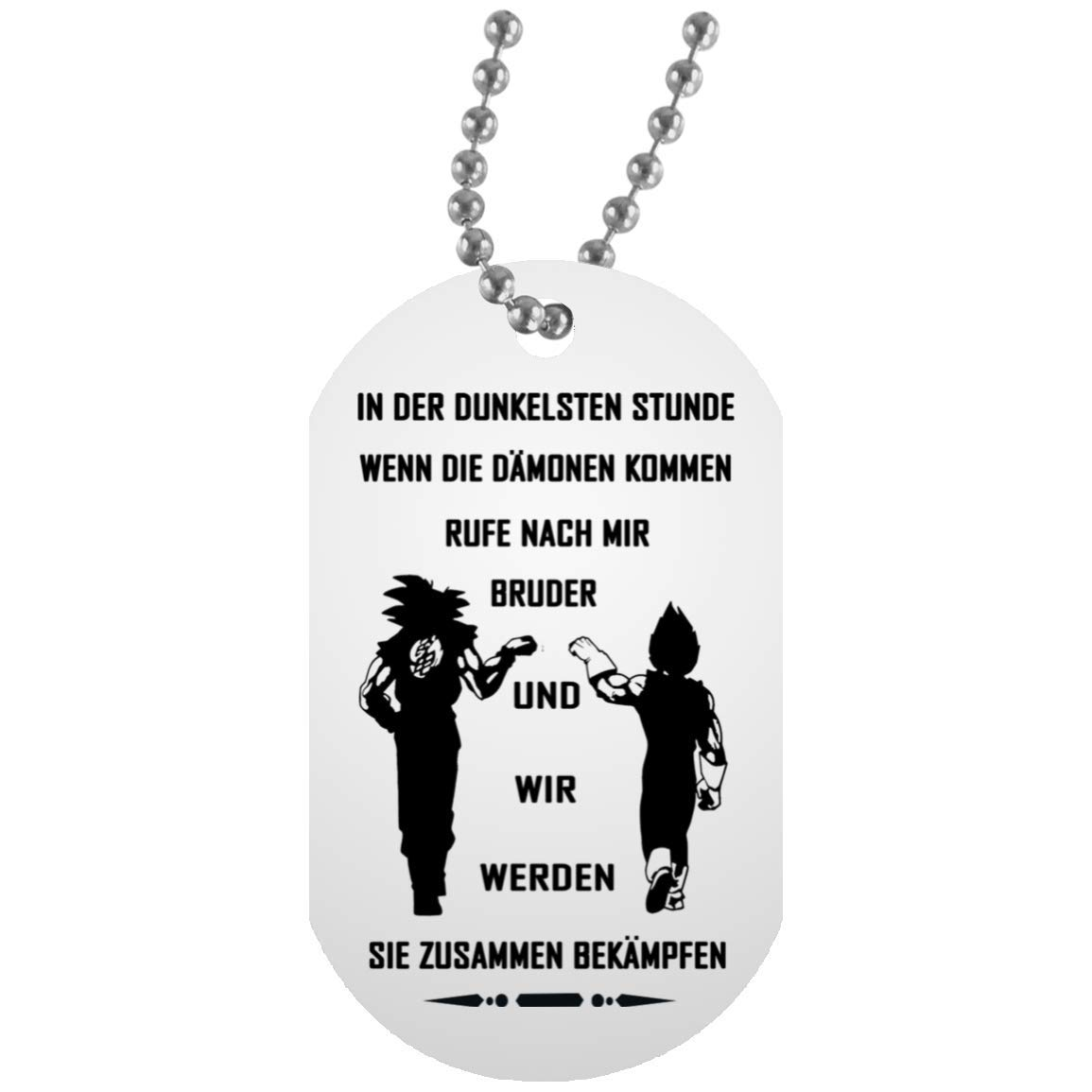 Amazon com germany dog tag chain for brother goku vegeta call me brother quotes necklace for him birthday military inspired aluminum dog tag jewelry