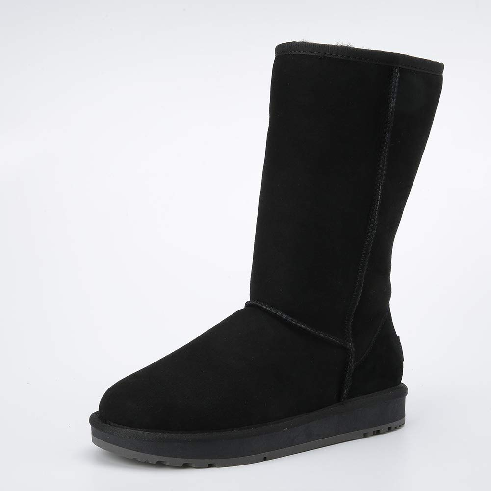 Black INOE CREATE GLAMOUR Women Snow Boots Classic Sheepskin Suede Real Sheep Fur Lined Winter Snow Boots for Women