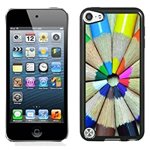 Fashion Custom Designed Cover Case For iPod Touch 5 Phone Case With Colorful Pencils Circle_Black Phone Case