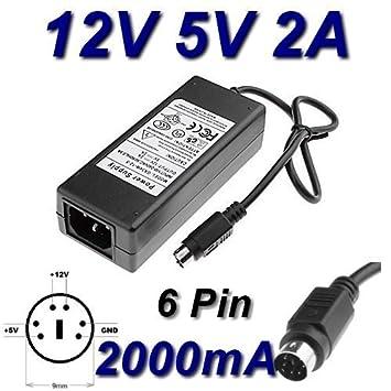 TOP CHARGEUR ® Adaptador Alimentación Cargador Corriente 12V 5V 2A 6 PIN Reemplazo Recambio Flypower SPP34-12.0/5.0-2000