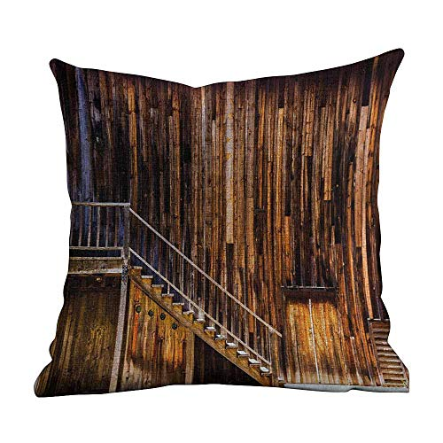 Matt Flowe Throw Pillow Covers,Western,Wooden Cabin Structure Stairway Old Western Gold Rush Town in USA California,Brown Orange,Apply to Sofa office14 x14