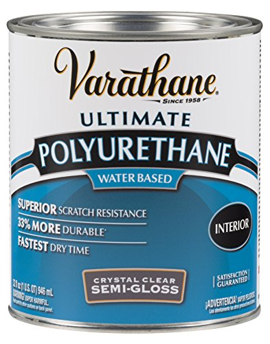 - Rust-Oleum Varathane 200141H 1-Quart Interior Crystal Clear Water-Based Poleurethane, Semi-Gloss Finish