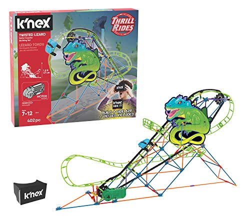 K'NEX Thrill Rides – Twisted Lizard Roller Coaster Building Set with Ride It! App – 402Piece – Ages 7-12 Building -