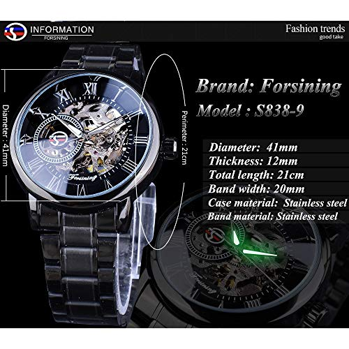 51NjWpNMF7L. SS500  - Forsining 3D Hollow Engraving Full Black Clock Luminous Design Black Stainless Steel Men's Mechanical Watches Top Brand Luxury