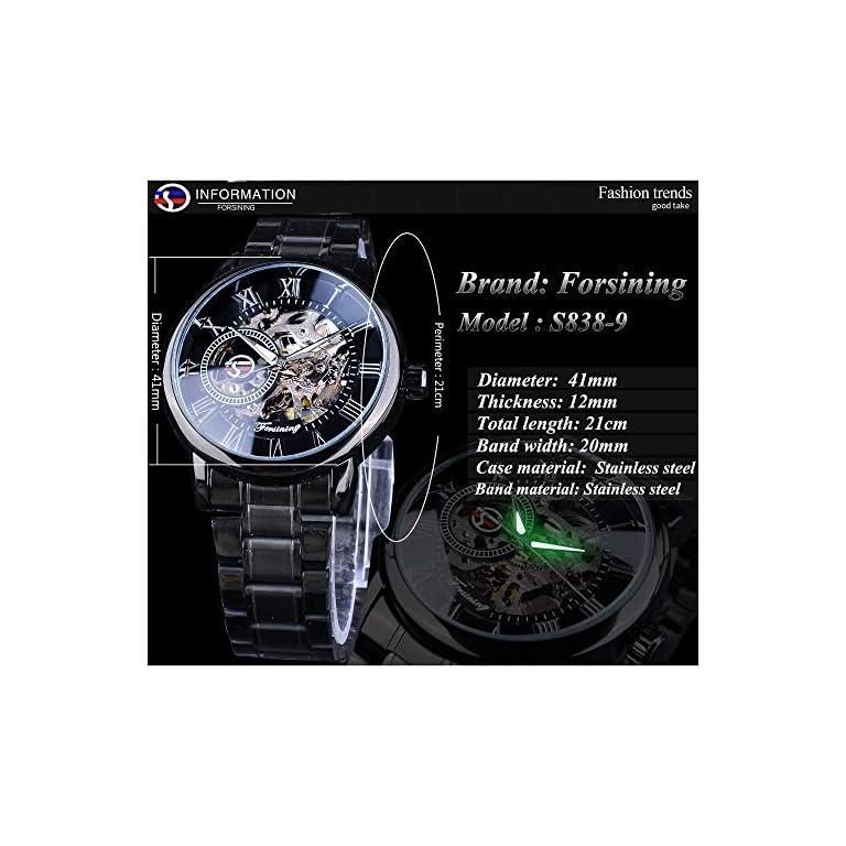 51NjWpNMF7L. SS768  - FORSINING chronograph Men's Watch (Black Dial Black Colored Strap)