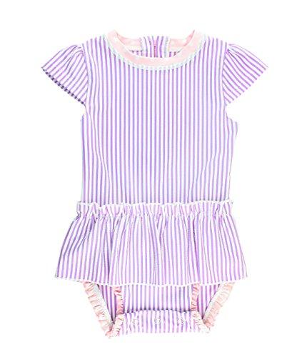 RuffleButts Little Girls Peplum Skirt One Piece Rash Guard Swimsuit - Lilac Seersucker - 2T by RuffleButts (Image #5)