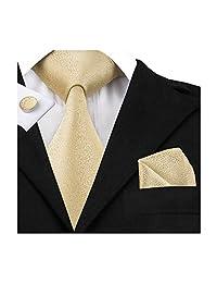 Hi-Tie Mens Gold Solid Woven Silk Tie Nektie Hanky Cufflinks set