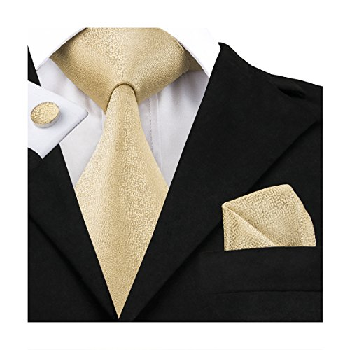 Hi-Tie Mens Gold Solid Woven Silk Tie Nektie Hanky Cufflinks (Solid Gold Cufflinks)