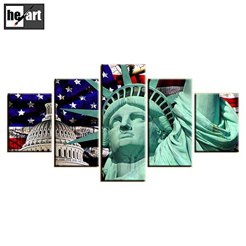 Map Canvas Mural Banner - Patriotic Concept American Flag Canvas Large Painting Statue of Liberty Print USA Wall Art Vintage Flag Decor Party Giclee Artwork for Living Room Home Decoration Stretched Framed,A