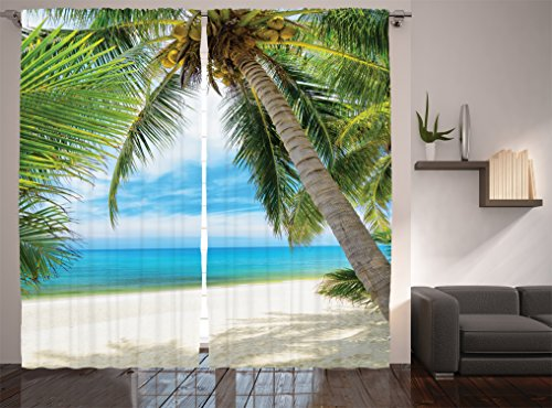 Ocean Decor Curtains By Ambesonne, Shadow Shade Of A Coconut Palm Tree On White Sand, Window Drapes 2 Panel Set For Living Room Bedroom, 108W X 90L Inches