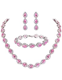 Ever Faith Silver-tone CZ Birthstone Elegant Teardrop Bridal Necklace Earrings Bracelet Set Clear N06160-1