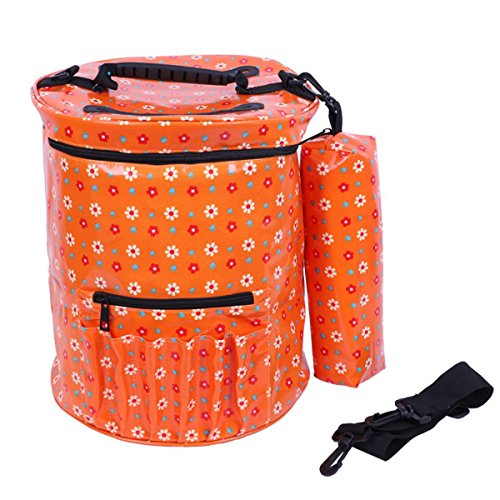 TOOGOO Bolsa de hilo, Bolsa tejido de lona impermeable bloomma con correa de hombro Accesorios de ganchos de ganchillo y agujas Bolsa de almacenamiento de lana, 27cm x 30cm